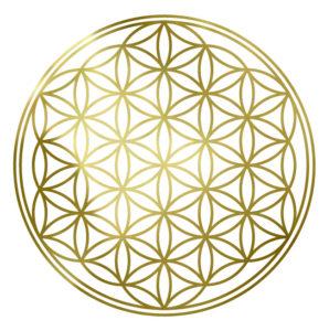 flower of life, sacred geometry, gold, refined vibration, spiritual symbols